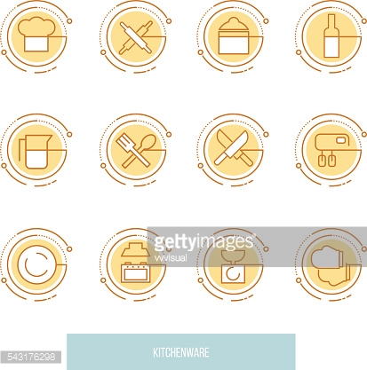 Thin line icons set of kitchen utensils, household tools