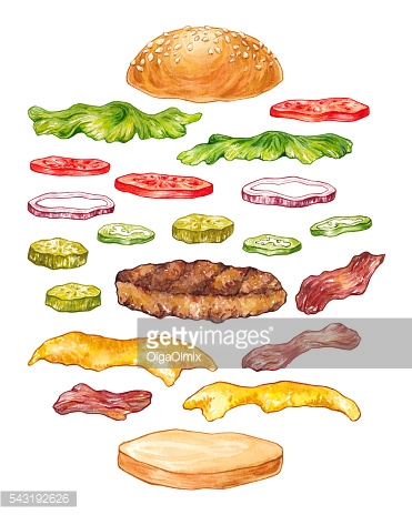 Hand drawn watercolor set of burger ingredients on white background.