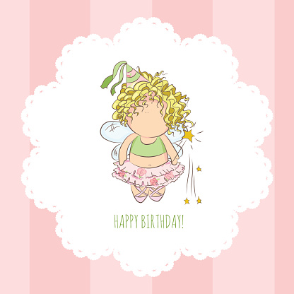 vector illustration of a fairy with magic stick. congratulations card.