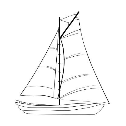 Contour of sailboats isolated on white.