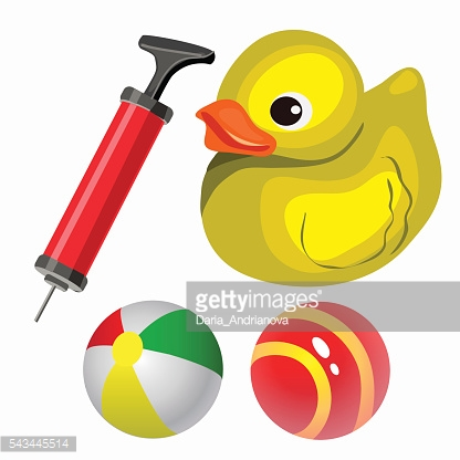 Balls and yellow duck. Vector set in cartoon style