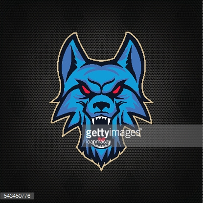 Template of emblem with angry wolf head.