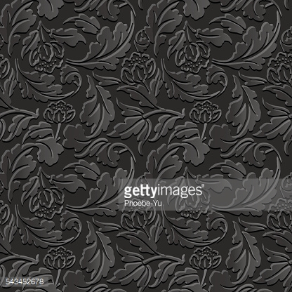 Seamless 3D dark paper cut 459 flower spiral cross leaf