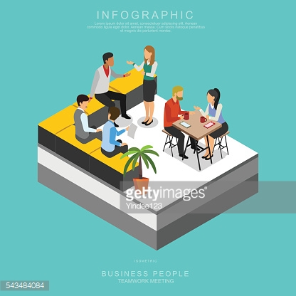 ISOMETRIC BUSINESS PEOPLE TEAMWORK MEETING in office, Set B