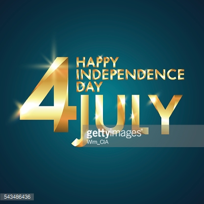 Happy Independence Day, 4th of July with Golden font