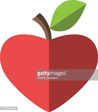 Heart shaped red apple