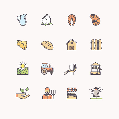 Set flat icons of linear natural products.