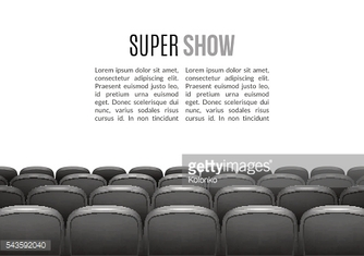 Movie theater with row of gray seats. Premiere event template
