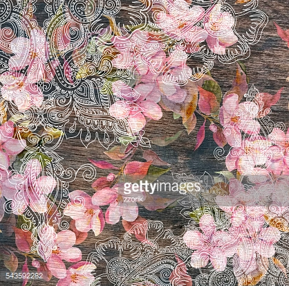 Floral pattern - pink flowers, indian ornamental design, wood texture