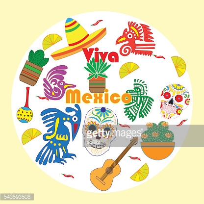 Vector set of colorful objects, cartoons and icons of Mexico.