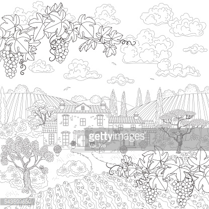 Cartoon contoured landscape with house, trees and grape branches.