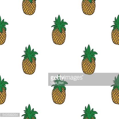 Hand drawn pineapple doodle seamless pattern on white background