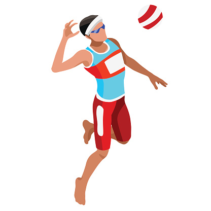 Volleyball Beach Sports Isometric 3D Vector Illustration