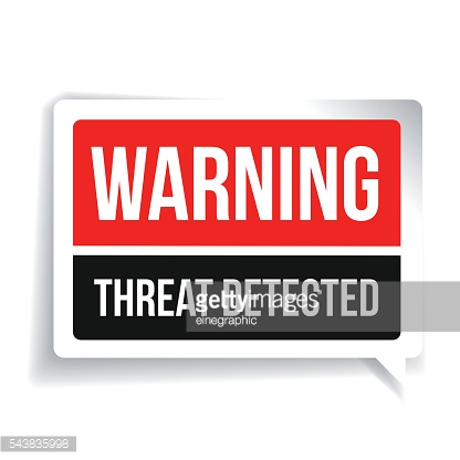 Warning Threat Detected. Security concept sign