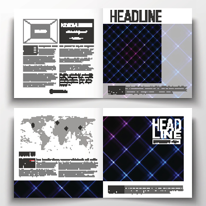 Set of square design brochure template. Abstract polygonal background, modern