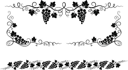 Decorative elements, corners with bunches of grape.