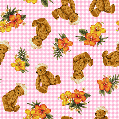 Pattern of a bear and the Hibiscus