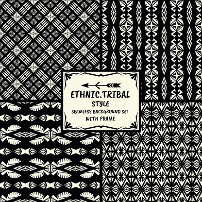 Seamless abstract vector ethnic pattern collection in monochrome
