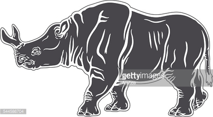 Stencil of a walking brontotherium