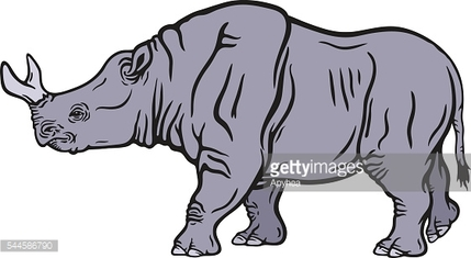 Colored illustration of a walking brontotherium