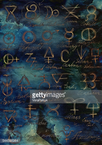 Mystic background with shining alchemic signs and symbols