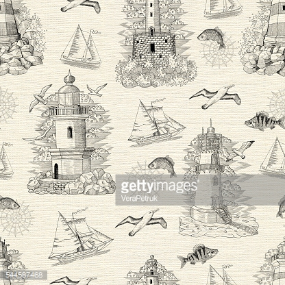 Seamless background with lighthouses, boats and fish