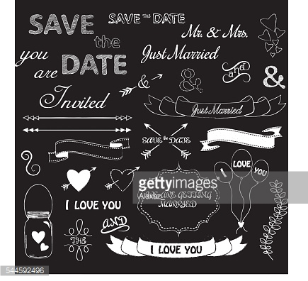 Wedding Font,SavetheDate ,YouAreInvited.Letters Design Elements Isolated