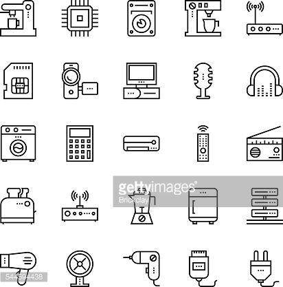 Electronics and Devices outline Vector Icons 5