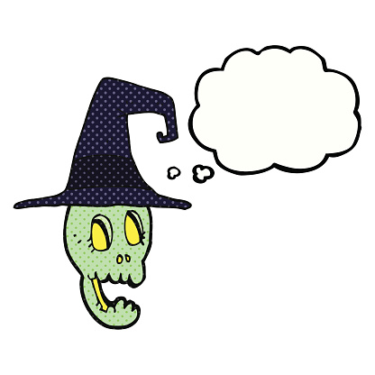 thought bubble cartoon skull wearing witch hat