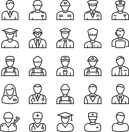 Professions Outline Vector Icons 1