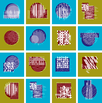 Vector geometric compositions set, abstract graphic arts