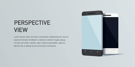 Vector minimalistic 3d isometric illustration cell phone. perspective view. Mockup