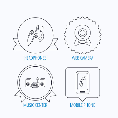 Smartphone, web camera and headphones icons.