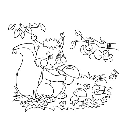 Coloring Page Outline Of squirrel with mushrooms for kids