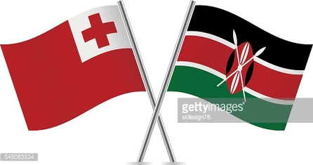 Tonga and Kenyan flags. Vector.