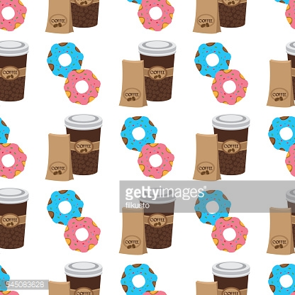 Seamless pattern with illustrations on the theme of coffee.