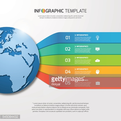 Infographic template with globe for graphs, charts, diagrams.