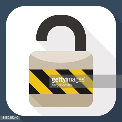 Open padlock flat icon with long shadow