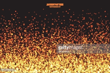 Golden Shimmer Glowing Square Particles Vector Background