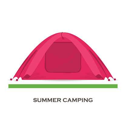 Touristic camping tent . Vector illustration in flat style .