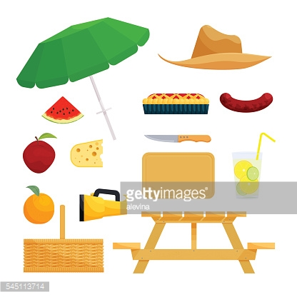 Set of objects for picnic