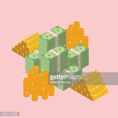 Pile of cash with gold ingots and coin