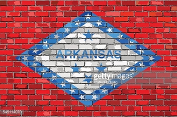 Flag of Arkansas on a brick wall