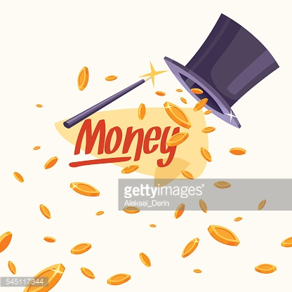Illustration with coins, cylinder and a magic wand