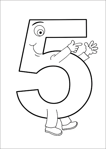 Number 5 character with arms and legs