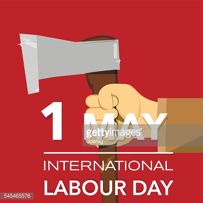 Hand with axe international labour day vector illustration