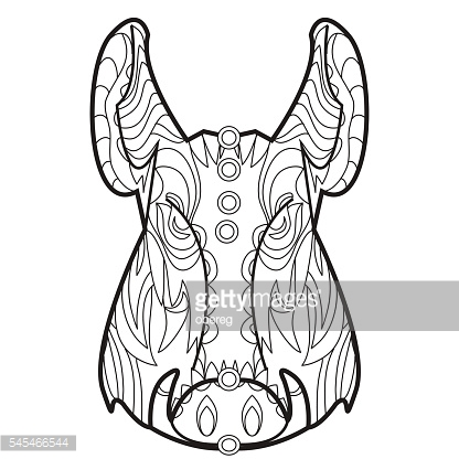 Line vector image for art therapy with boar
