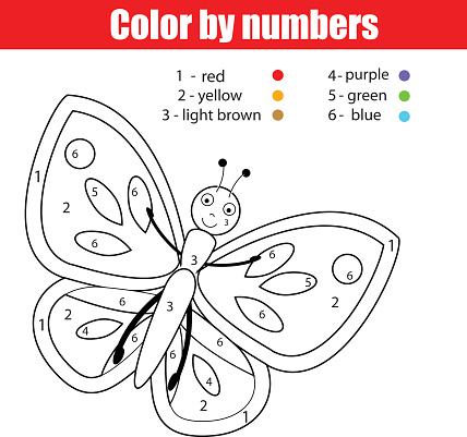 Coloring page with butterfly. Color by numbers  drawing kids activity
