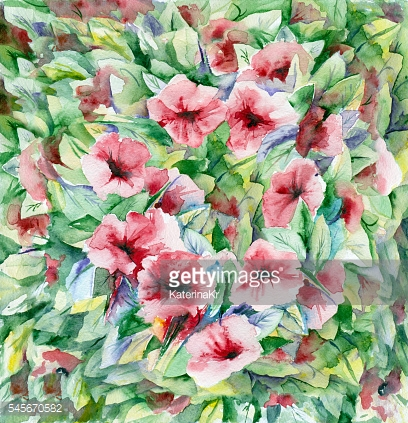 Watercolor green-red floral background.