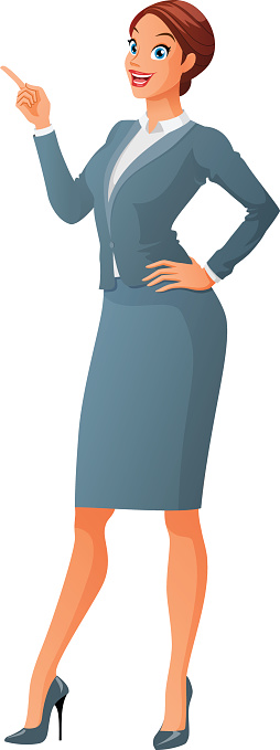 Smiling business woman with finger point up. Cartoon vector illustration.